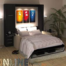 new inline murphy bed with hutch and inline sofa by bredabeds