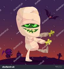 halloween background tombs cartoon walking mummy character vector clip stock vector 493640518