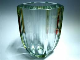 Crystal Glass Vase Busacca Gallery Old Heavy Thick Lead Crystal Glass Flower Vase