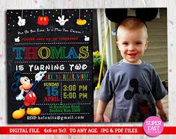 mickey mouse birthday invitations mickey invitations etsy