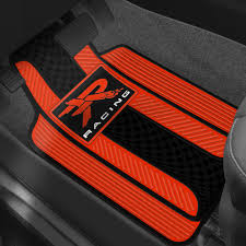 decor 1st row red and black rubber floor mats with r racing logo