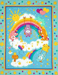 44 wide care bears sided quilted panel fabric