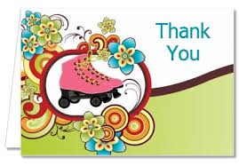 birthday party thank you cards roller skating thank you notes