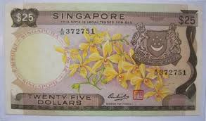 twenty five dollars rare vintage 25 orchid series singapore old bank notes for sale