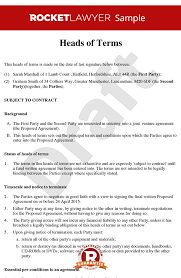 of terms sample heads of agreement template