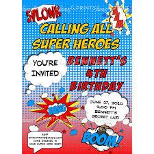 superhero comic printable invitation dimple prints shop
