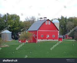 Red Barn Experience Red Barn Big Bright Red Barn White Trim Stock Photo 2595624