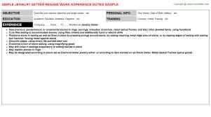 Packer Resume Sample by Jewelry Setter Resume Sample
