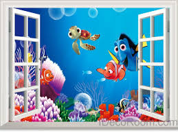 3d window wall decals idecoroom 3d finding nemo dory colorful fish coral turtle shark window wall decals wall art stickers home