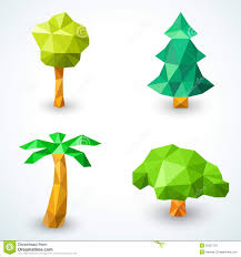 set of polygonal origami tree icons vector stock images image