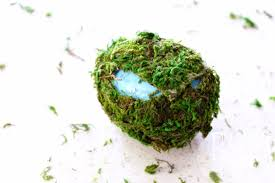 moss ribbon diy moss covered easter eggs tastefully eclectic