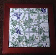 white bird and trellis tile framed william morris william