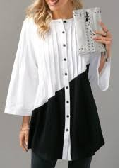 black button up blouse pintuck color block button up blouse modlily com usd 29 28