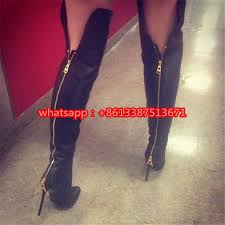womens boots zip up back black leather suede the knee boots pointed toe