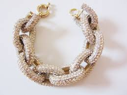 crystal chain link necklace images Gold crystal pave link bracelet jpg
