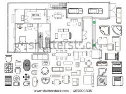 architecture plan architecture plan furniture top view stock vector 405000835