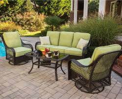 Swivel Rocking Chairs For Patio Hanover Orleans 4 Piece Outdoor Conversation Set With Swivel