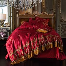 Royal Bedding Sets Luxury Cotton Golden Lace Royal Bedding Sets 4 7pcs