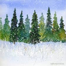 winter watercolor with splattered acrylic paint watercolor