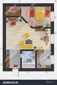 apartment flat house floor plan design stock vector 500469778