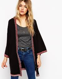 cardigan kimono asos collection longline kimono cardigan with embroidered tipping
