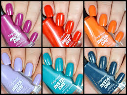 new sally hansen insta dri polishes live swatch review youtube