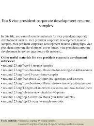 corporate resume examples top8vicepresidentcorporatedevelopmentresumesamples 150527132006 lva1 app6891 thumbnail 4 jpg cb 1432734158