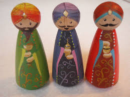 hand painted wooden peg doll nativity by makethescene on etsy