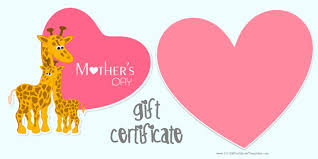 mother u0027s day gift certificate templates