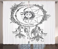 tribal curtains 2 panels set asian dreamcatcher moon home decor