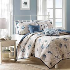 coastal quilt set blue coverlet seashells starfish