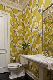 ideas for small bathrooms wallpaper and flower vase and sconce