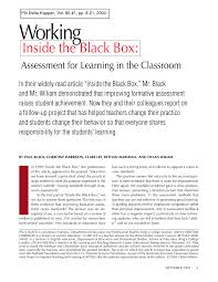 working inside the black box assessment for learning in the