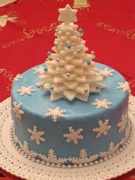 blue u0026 white christmas with tree on top and using fondant covering