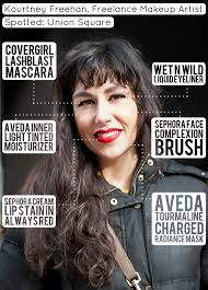 beauty street style kourtney freehan makeup artist pairs liquid liner and red lipstick french