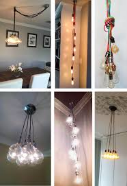 Cloth Cord Pendant Light 7 Cluster Custom Any Colors Chandelier Multi Pendant