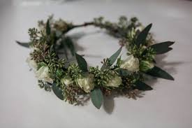 crowning floral spray flower crown made with seeded eucalyptus and white spray roses