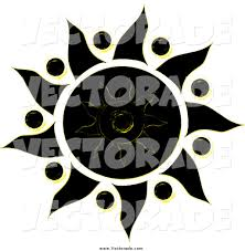 vector of a black yellow and white tribal styled sun design by pams