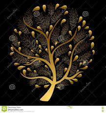 gold tree on black background stock vector image 73642829