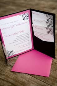 wedding invitations with pockets hot pink and black pocket invitations pocket fold wedding