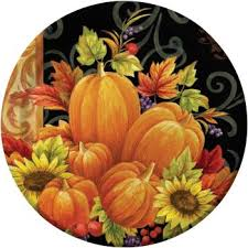 pumpkin tapestry 10 square thanksgiving banquet paper plates 8ct