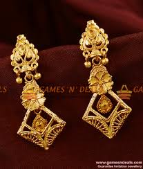 long rings design images Er364 south indian long gold like traditional earrings buy online jpg