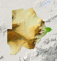 Botswana Map Botswana Shaded Relief Map Surrounding Territory Greyed Out