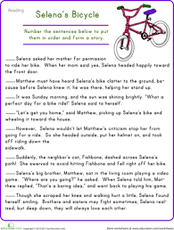story sequencing selena u0027s bicycle comprehension worksheets