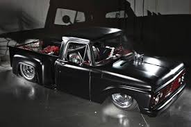 Vintage Ford Truck Exhaust - custom air bag based cantalever rear suspension system in a