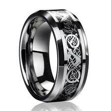 celtic dragon rings images Titanium stainless steel men 39 s silver celtic dragon wedding band jpg