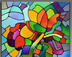 cubism flower painting view geometric giclee prints by sallytracefineart on etsy