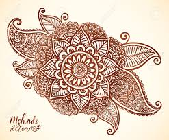 brown henna colors vector floral element in indian mehndi tattoo