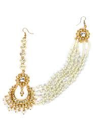 one sided earrings soranam indian designer gold plated pearl chains single side matha