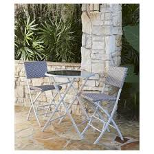 Patio High Table And Chairs Delray 3pc Metal Patio High Top Folding Patio Bistro Set Cosco